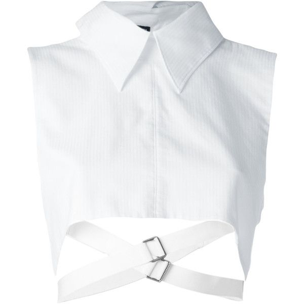 Ann Demeulemeester cropped strap shirt ($285) ❤ liked on Polyvore featuring tops, white, white shirts, spaghetti-strap tops, ann demeulemeester shirt, strap shirt and strappy crop top
