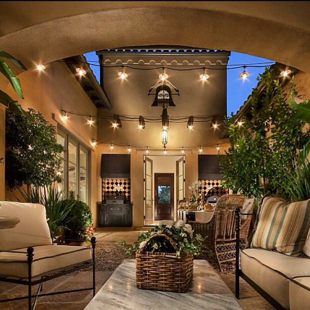 This Lantern Inspired House Design Lights Up A California: Beautiful Bistro Lights In Arizona Courtyard