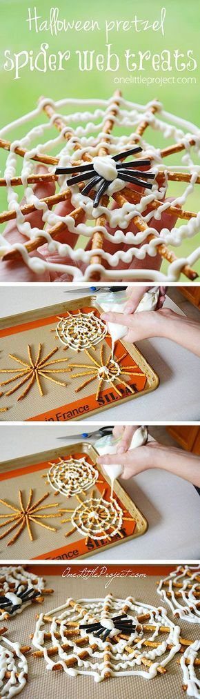 These Halloween pretzel spider webs are SO CUTE! They have to be the coolest #Halloween snack ever! #trickortreat