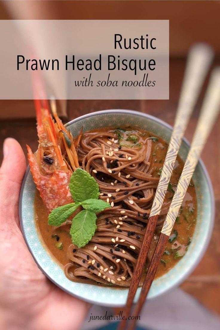 Prawn Head Soup with Soba Noodles