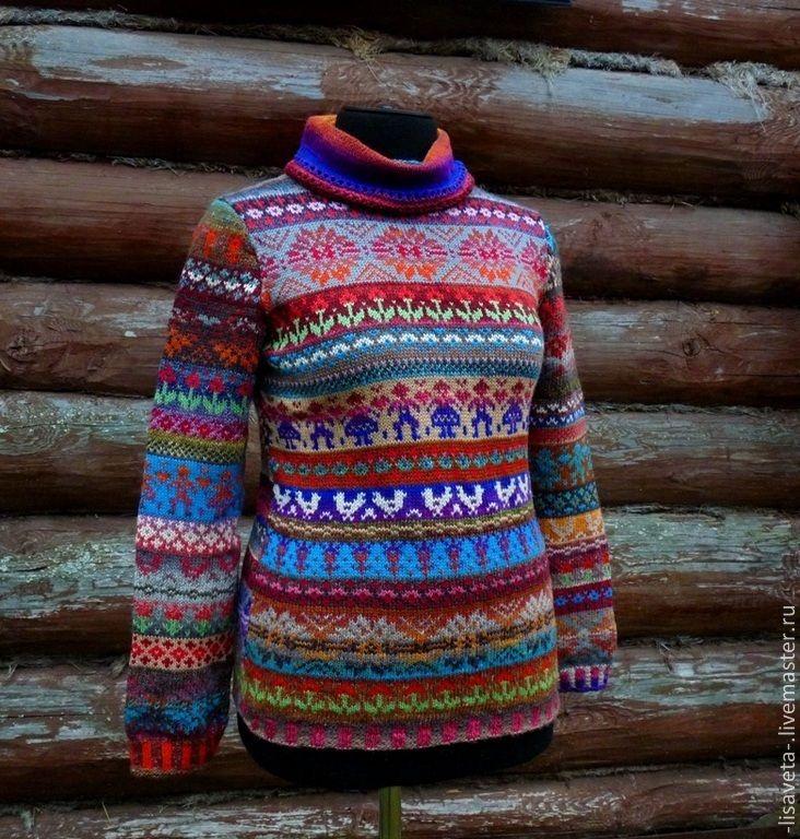 Купить Веселая ярмарка. Женский свитер - орнамент, женский свитер, Жаккардовый узор, жаккардовый свитер