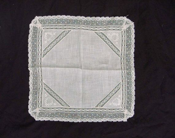 Net Lace Wedding Hankie Vintage Bridal Belgium Handkerchief Antique Needlework Brussels Off White Linen Fl Design 11 1 2