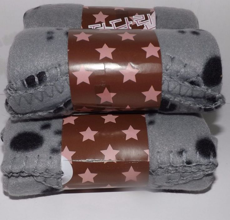 "Paw Fleece Throw - Gray 24"" x 28"" Lot of 4 #Unbranded"