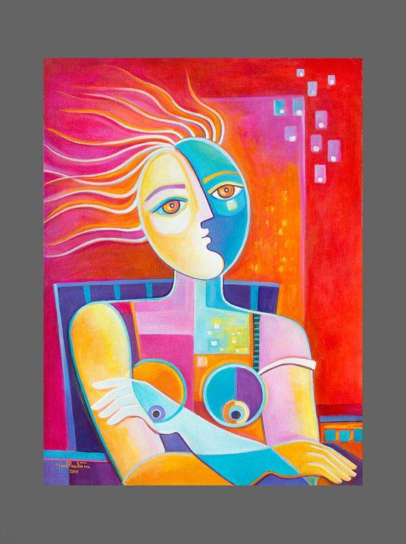 « Une femme en harmonie avec son esprit est comme un fleuve qui coule. Elle va où elle sera sans prétention et arrive à son destination prêt à être elle-même et seulement elle » Maya Angelou Il sagit dune peinture à lhuile originale par Marlina Vera. La peinture est signée à lavant et à larrière. Comprend un signé à la main Certificat dauthenticité par Vera Scoubidou. TITRE: « la femme éclairée » TAILLE : 24 x 18 x 3/4 PRIX : 650 $ MÉDIUM : Huile sur toile. Bordure noire, il ne fait pas...