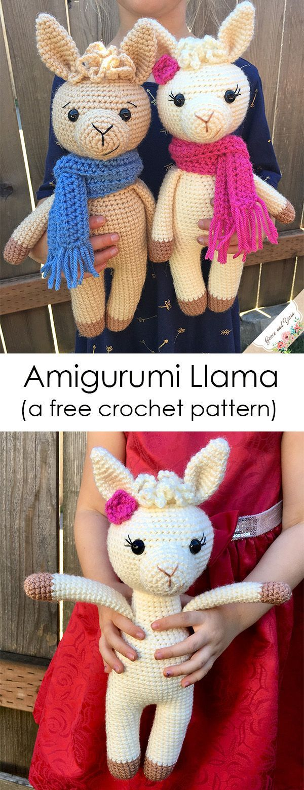 Easy to follow crochet llama pattern with step by step photo tutorial! Great beg…