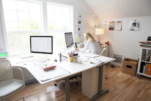 desk set up for Office idea (two of those GALANT corner tables from Ikea like in the Radio room)