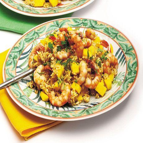 Ricetta Riso speziato con mango e gamberi