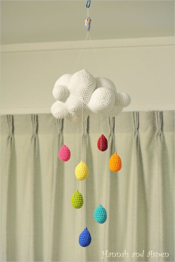 Baby Crib Mobile - Nursery Mobile - Mobile - Crochet Mobile -  Cloud mobile with rainbow raindrop