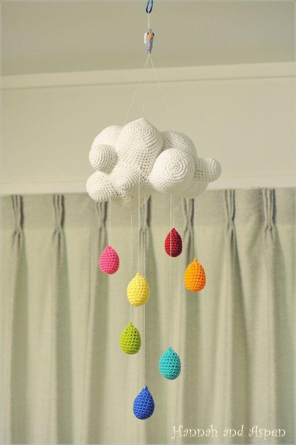 Baby Crib Mobile - Nursery Mobile - Mobile - Crochet Mobile -  Cloud mobile with rainbow raindrop