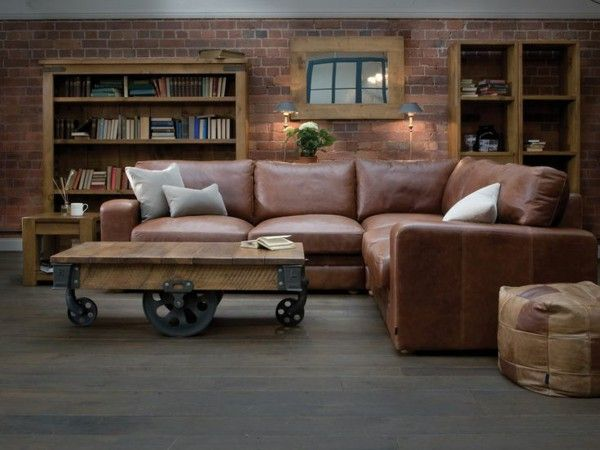 Corner sofa made of leather Brown coffee table role