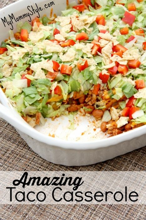 Delish and easy dinner recipes like this taco casserole totally help me through a busy week night dinner.