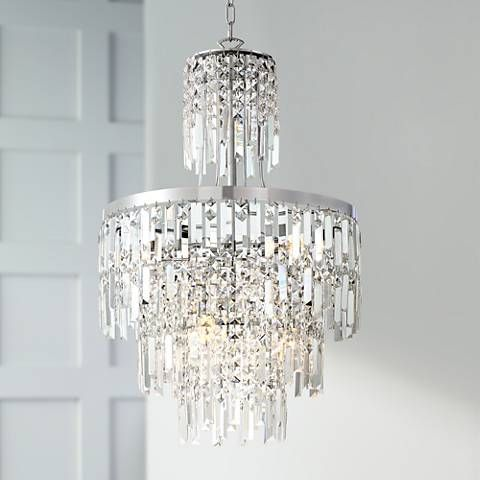 Multiple layers of crystal on this contemporary chandelier create a sparking ambiance in and room high x 19 wide x canopy is wide x hanging weight is lbs