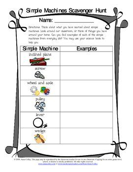 simple machines scavenger hunt ell esol lep nep esl simple machines. Black Bedroom Furniture Sets. Home Design Ideas