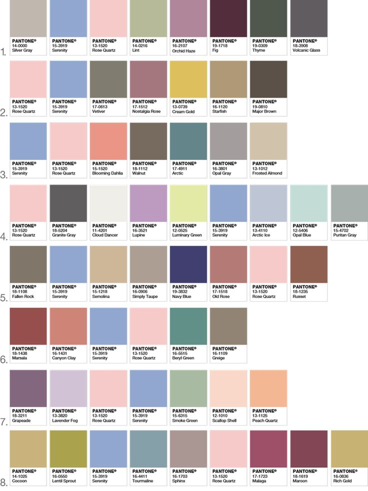 Pantone color palettes using 2016 colors of the year Rose Quartz and Serenity