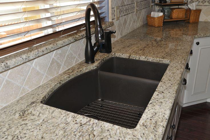 Giallo Ornamental Granite, Silgranite Blanco sink