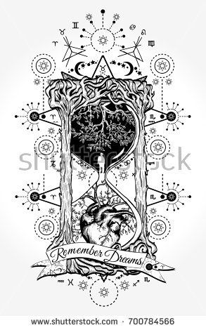 Hourglass tattoo and t-shirt design. Tree and heart in hourglass symbol of life and death, mystical tattoo. Man in hourglass tattoo. Evergreen heart. Slogan: remember dreams. Hourglass astrological