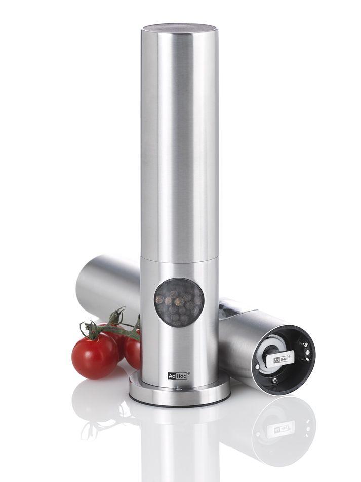 AdHoc EP71  Wiederaufladbare elektrische Pfeffer- oder Salzmühle OVAL, Ceramic Mahlwerk, LED-Licht, inkl. 6 wiederaufladbarer Akkus, Edelstahl/Acryl/Silikon, D: 4,5 cm, H: 21,3 cm, inkl. Ständer: D: 6 cm, H: 22,3 cm