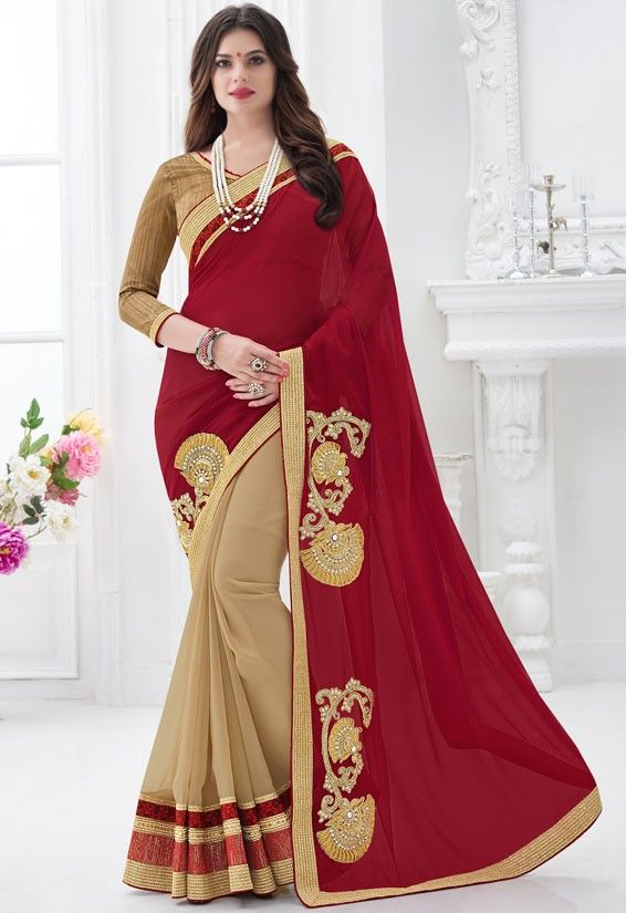 Blooming Beige and Maroon Saree