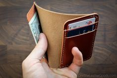 A compact, minimal wallet for folded bills and cards in your choice of leathers and colors. Great in a front or back pocket. --> THESE ARE MADE-TO-ORDER AND REQUIRE 4-6 WEEKS TO SHIP. --> DESIGNATE YOUR COLOR CHOICES in the Add an optional note to seller field during checkout--PLEASE READ BELOW.