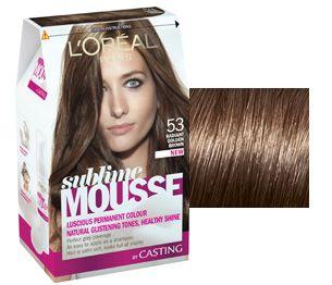 """NOVÁ pěnová barva Sublime Mousse od L'Oréal Paris. Teplá zlatistá hnedá. 5- ka je nazývaná často """"svetlohnedá"""", ale v reáli je to veru dosť tmavá hnedá!"""