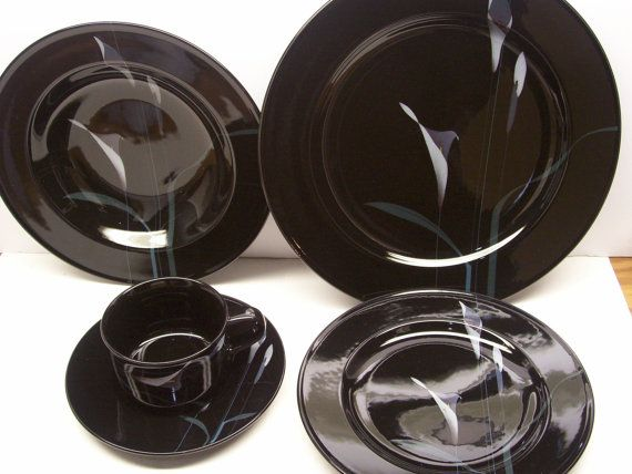 Mikasa Galleria FK107 Opus Black Calla Lily Dinnerware 5 Piece Set by GarageSaleGlass, $39.99