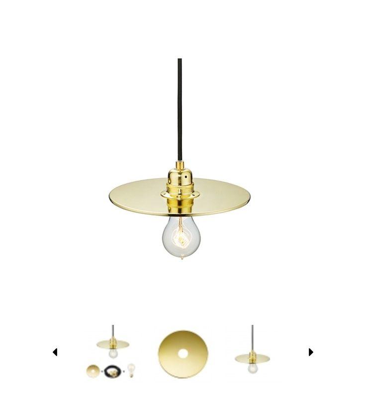 Office light above desk table. Glam gold Scandinavian light bulb ceiling light. Brass gold modern http://www.heytherehi.net/shop/6-lights/40-flat-one-215---lampshade/