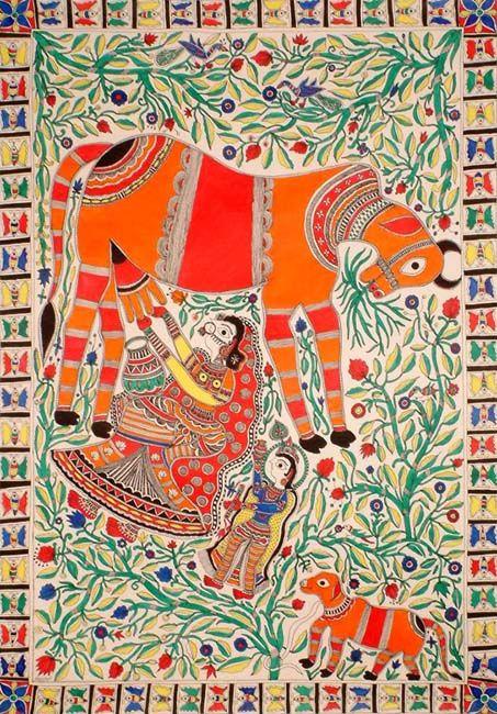 Yashoda milking the cow for Krishna