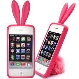 Rabito Coque Silicone Rose Lapin Avec Pompon Iphone 4