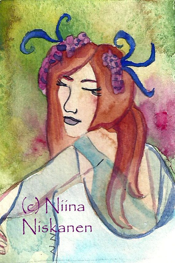 Spring Dance ACEO Watercolor Painting Pagan Art Goddess Dance