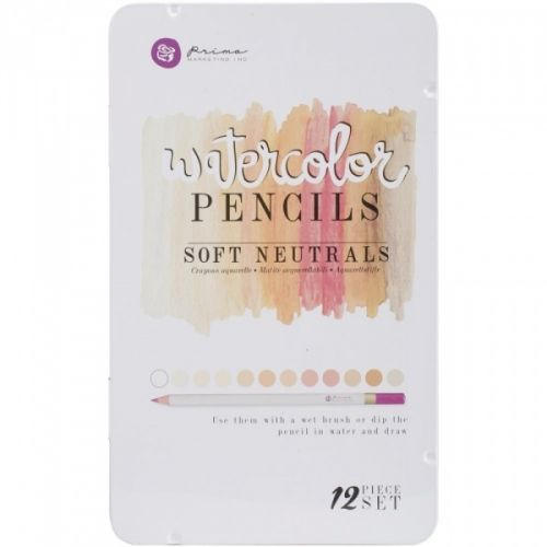 AKVARELLBLYANTER - PRIMA WATERCOLOR PENCIL - SOFT NEUTRALS Metallskrin med 12 akvarellblyanter fra PRIMA MARKETING - MIXED MEDIA.Prima Marketing-Mixed Media Watercolor Pencils. Use them with a wet brush or dip the pencil in water and draw! This package contains twelve watercolor pencils within one 7-1/2x4-1/2x1/2 inch tin case. Comes in a variety of assorted colors. Each sold separately.