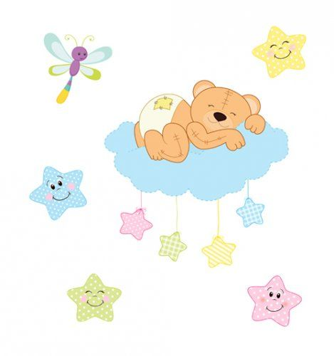 Teddy Bear Wall Mural Baby Woodland Animal Nursery Stickers