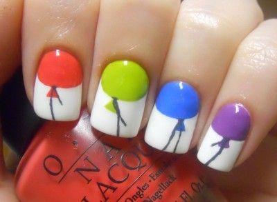 Balloon nails.: Birthday, Nail Polish, Nailart, Makeup, Nail Designs, Balloon Nails, Balloons, Nail Ideas, Nail Art