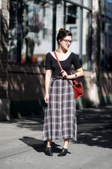 it's my darlin' seattle street style: Long Plaid Skirt