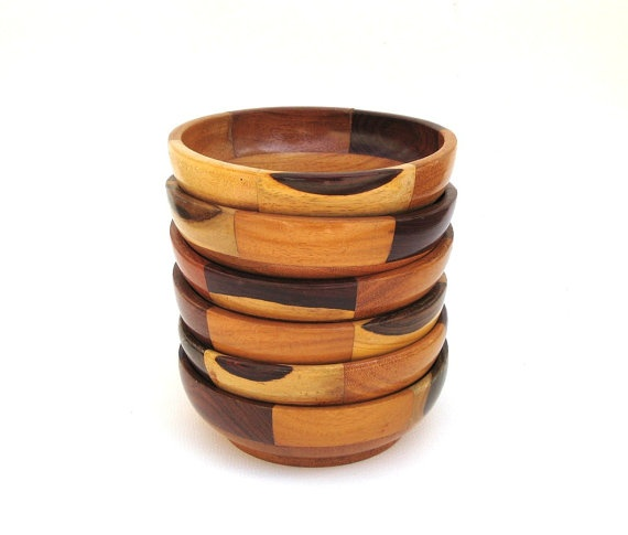 inlaid wood salad bowls set of six - Wooden Salad Bowls