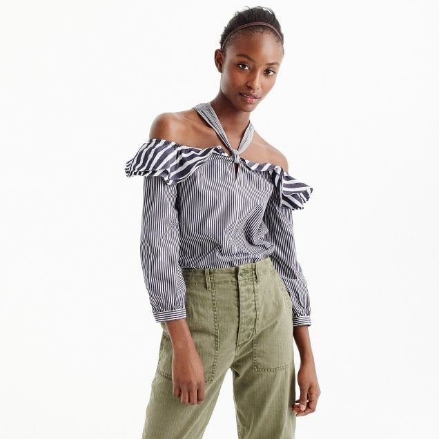 striped off-the-shoulder tie-neck top : women sleeved