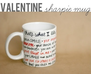 Personalize a mug for Valentine's Day with all the things you love about him...all you need is a sharpie & dollar store mug!