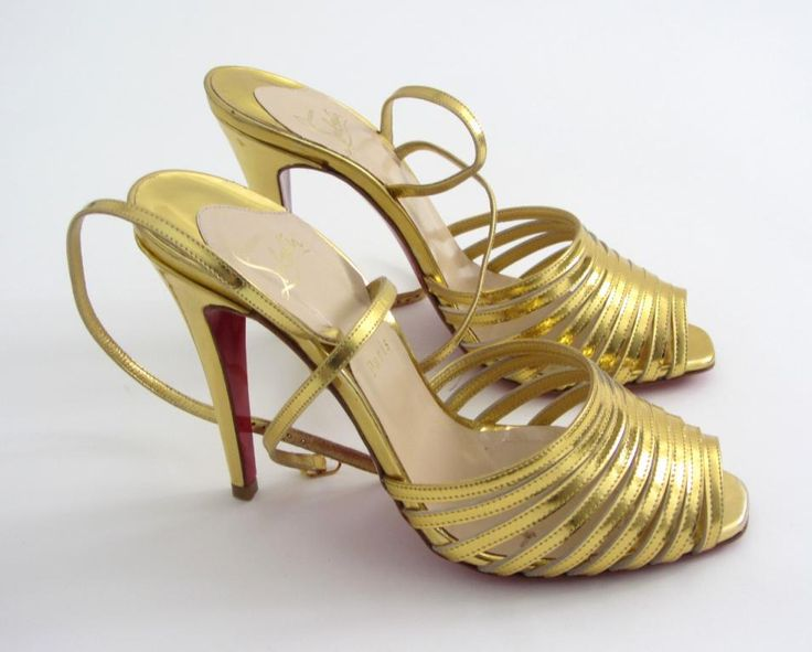 Piękne złote szpilki Christian Louboutin