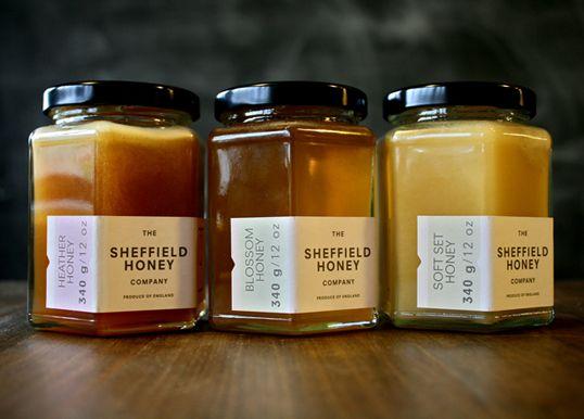 Sheffield honey: Food Packaging, Company Packaging, Honey Packaging, Jars Packaging, Vintage Packaging, Packaging Design, Sheffield Honey, Glasses Bottle, Honey Company