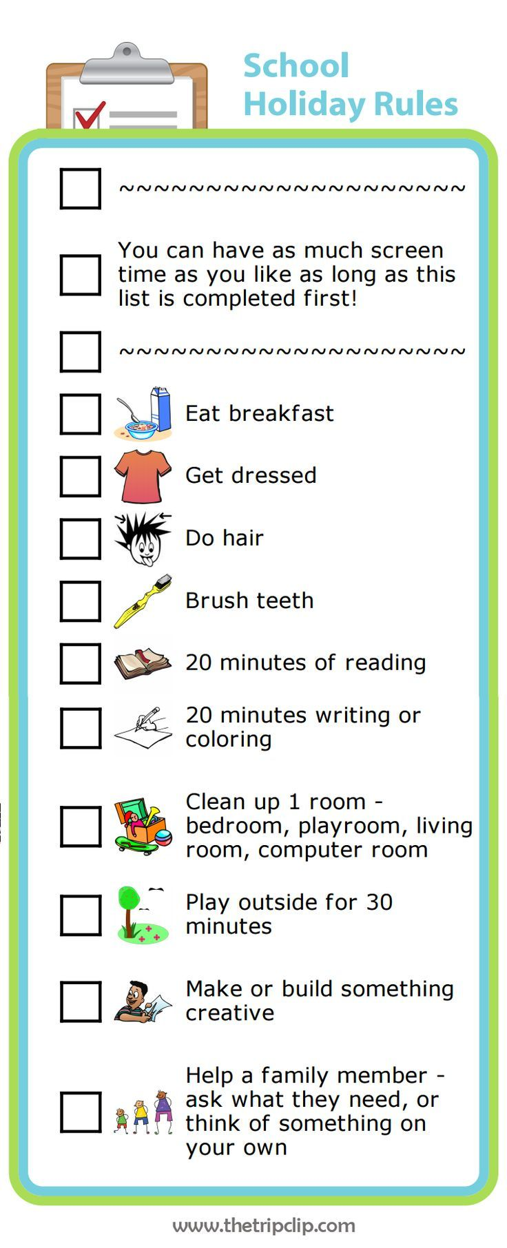 You can easily make your own screen time rules for summer vacation with The Trip Clip custom list maker. Edit it to make it perfect for your family!