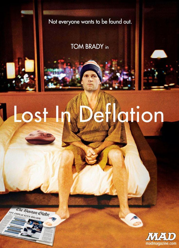 MAD Magazine Tom Brady's Depressing New Movie Idiotical Originals, Movie Posters, Sports, Football, NFL, New England Patriots, Lost in Deflation, Lost in Translation, Bill Murray, Tom Brady, Bill Belichick, Deflate Gate, Spunky Rodent Dances
