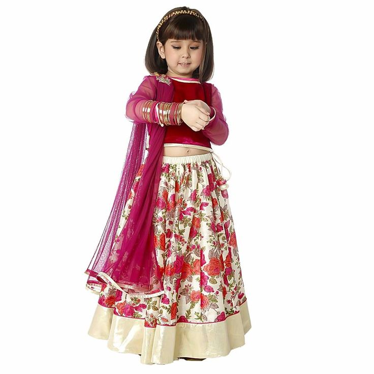 Rose Garden Velvet Choli With #Lengha is perfect for those cold winter weddings. When your little one will keep warm and look bright. Signup today and get Flat 20% off on your first order. #information #buy #free #online #shopping #shipping #discount
