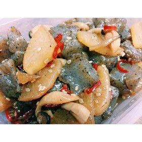 【常備菜】蒟蒻と大根のピリ辛炒め煮