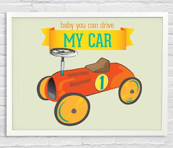 """Toy Car"" Nursery Decor children Art toy car Beatle lyrics by b0ysandgir1s, $16.00"