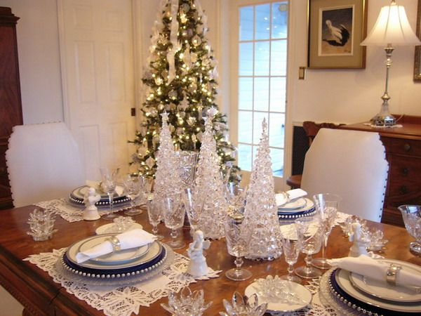 Dining Room, Luxury White Crystal Also Icy Glass Trees For Christmas Decorating Design Ideas In Contemporary Dining Room Centrepiece Table: Christmas Dining Room Decorating Ideas