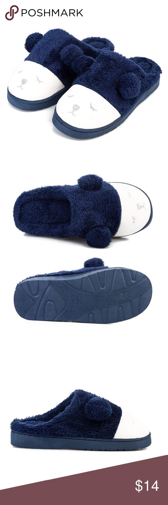 **NWT** Men's Cute Fuzzy Plush Slippers Men's dark blue fuzzy plush indoor slippers with a cute animal face on the front Size 9 Machine Wash Cold Brand New With Tags! Shoes Loafers & Slip-Ons
