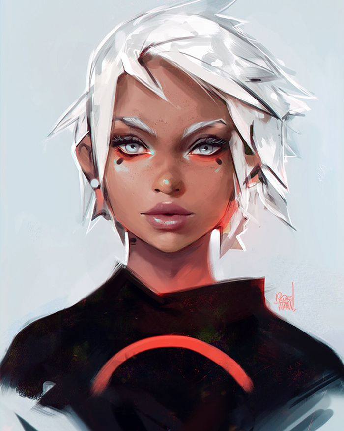 Crimson by rossdraws, Digital Painting, Female Character Design, Portrait, Inspirational Art