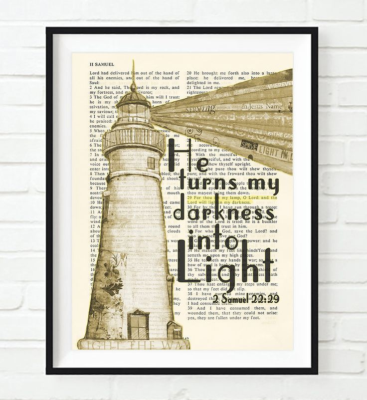 He turns my darkness into Light - 2 Samuel 22:29 - Vintage Bible Highlighted Verse Scripture Page- Christian Wall ART PRINT