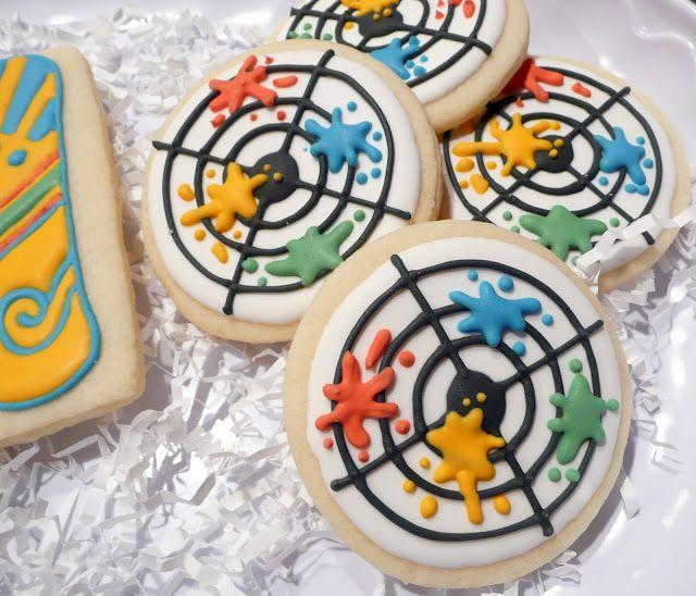Good idea for paintball cookies... By The Sugar Tree