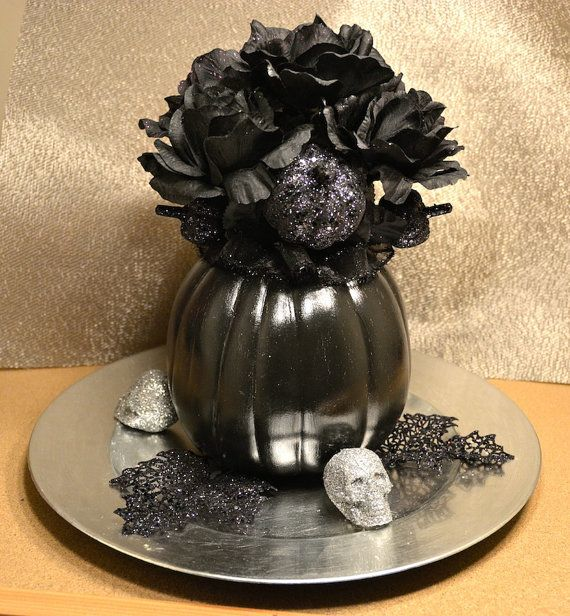 Black halloween floral centerpiece silver plate roses