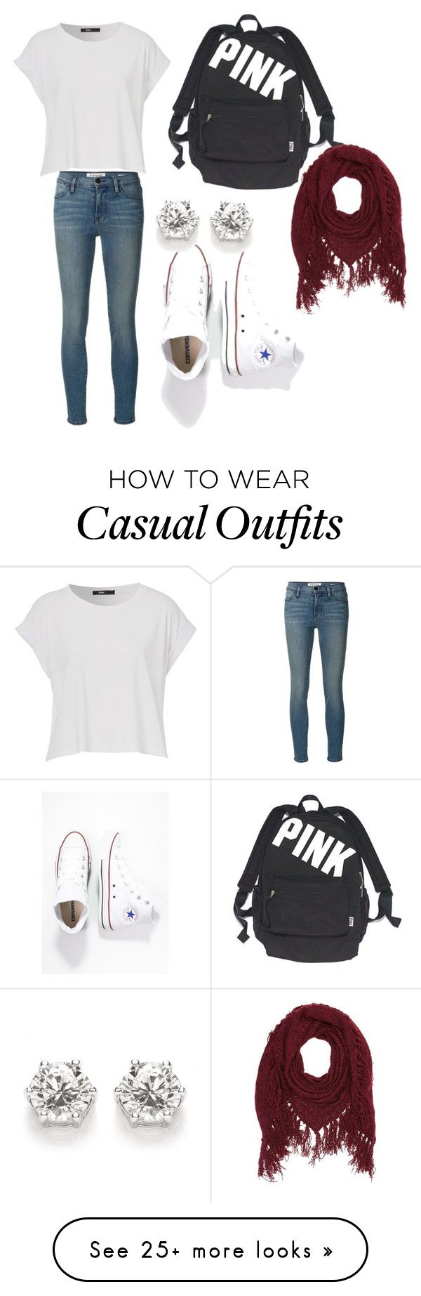 """""""School or casual outfit"""" by hankate15 on Polyvore featuring moda, Frame Denim, Converse, Victoria's Secret ve Charlotte Russe"""